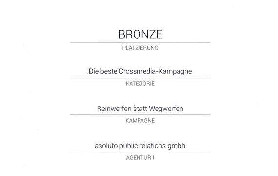 vamp AWARD 2014 - Bronze für beste Crossmedia-Kampagne