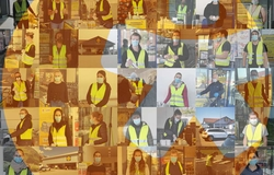 Collage mit easystafferInnen bei Lidl Helping Hands