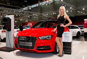 Junge Mitarbeiterin bei Vienna Autoshow für Audi